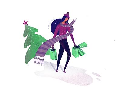 Holiday Season people illustration character holidays winter shopping customer service christmas tree christmas tips holiday season