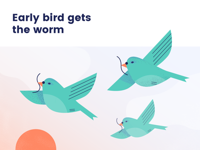 Early Bird Gets The Worm vintage clouds sky sayings worm illistration bird