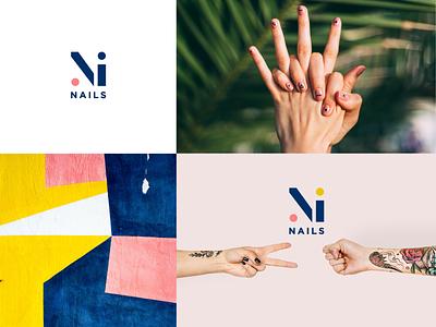 Ninails beautician nail care hands urban millenials shapes geometry geometric style beauty brand tatoo nails identity branding manicure logo