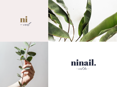 Ninails beauty beautician hands delicate vintage gold leaf leaves romantic identity bradning logo flower greenery nail salon nail nail care