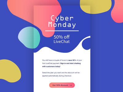 Cyber Monday chat customer service black friday cyber monday newsletter livechat campaign promo mailing