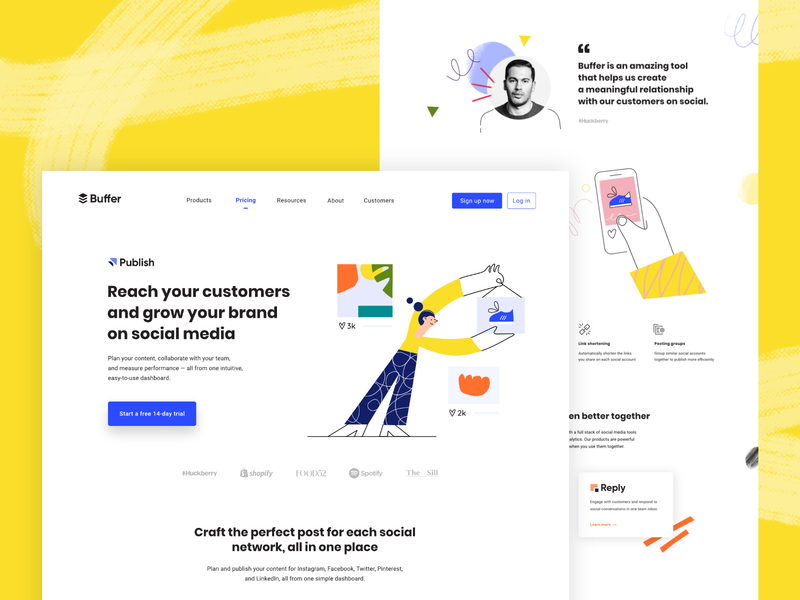 Buffer New Brand Identity people characters platform branding customers social media design ux landing page website brand identity social media buffer