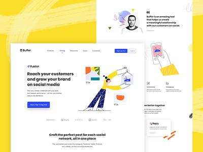 Buffer New Brand Identity people characters platform branding customers social media design ux landing page website brand identity social media buffer