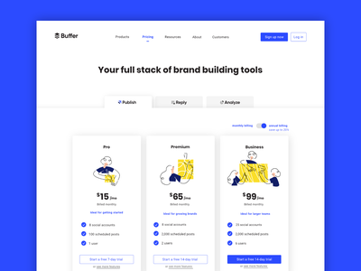 Buffer Pricing Page brand identity branding buffer pricing page customers social media website us growth characters landing page tabs suite product platform design pricing plan