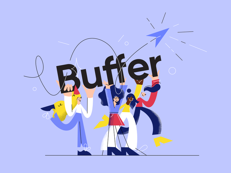 Buffer celebration characters social media blog post products suite platform teamwork people happiness celebration blog brand buffer
