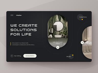 Interior design studio interface shapes interiordesign interior creative apartment service webui project concept webdesign web ui design studio