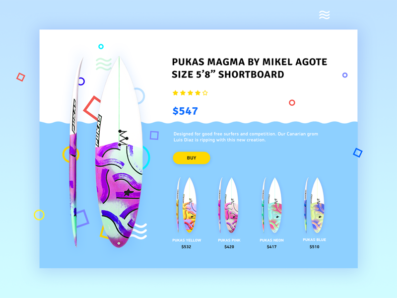 Product card for surfboards fancy hobby sport board wave colors shapes shop card product surfboard surfing