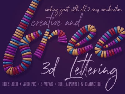 Free Colorful Rings 3D Lettering decorative playful colorful graphics freebies free typography font typography deeezy free font free graphics freebie free