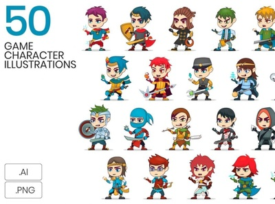 50 Game Character Illustrations