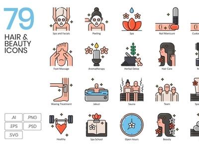 79 Hair, Beauty & Wellness Icons | Aesthetic