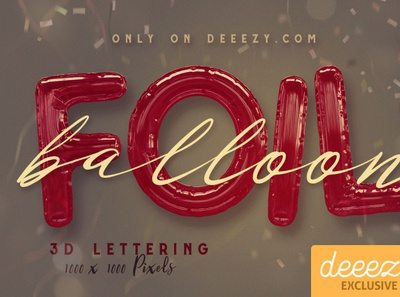 Foil Balloon Free 3D Lettering 3d digitalart 3dletters lettering typography