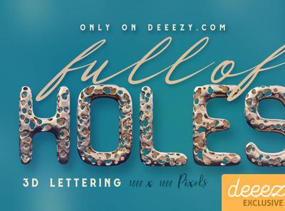 Full Of Holes 3D Lettering - FREEBIE digitalart 3d lettering 3dtypography typography