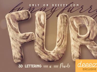 Funny Furry 3D Lettering - FREEBIE digitalart furryletters 3dlettering 3d typography
