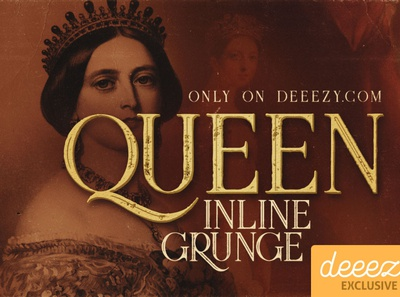 Queen Inline Grunge Font - FREEBIE design retrofont vintagefont typography digitalart