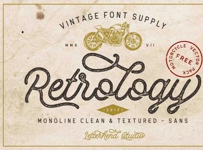 Retrology - a retro monoline script erodedfont vintagefont retrofont font typography