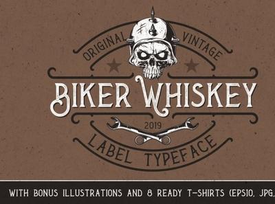 Biker Whiskey Layered Font retrofont typography digitalart font vintagefont
