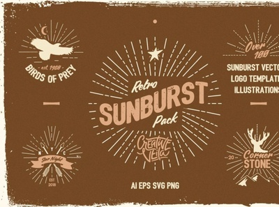 Vintage Glory: Sunburst Vector Set template digitalart rustic illustrations vector