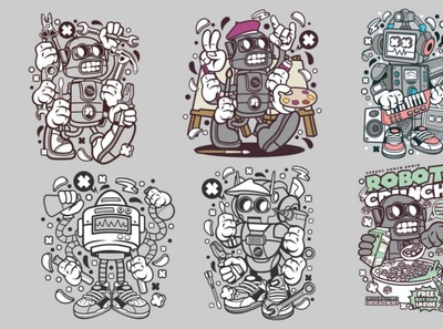 6 Robot Cartoon Character 2 illustrations characters cartoon robot digitalart