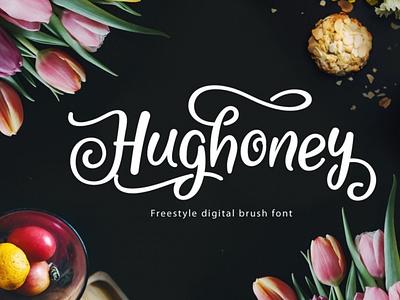Hughoney Script scriptfont handwrittenfont calligraphy font typography