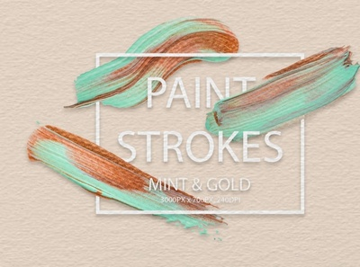 Mint & Gold Strokes photoshop brush digitalart