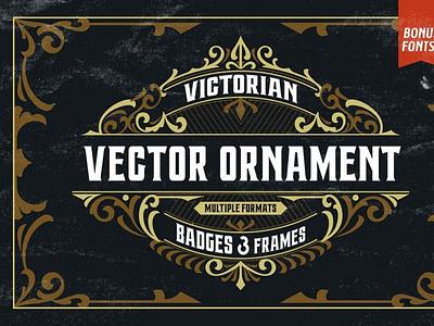 Victorian Ornaments Vector + Bonus victorian digitalart ornamentals