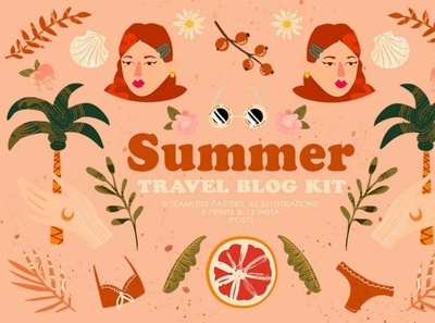 Summer Travel Blog Kit digitalart branding