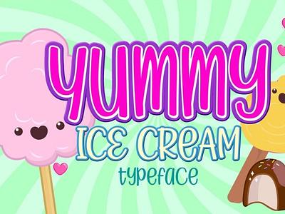 Yummy Ice Cream digitalart cartoonfont comicfont font typography