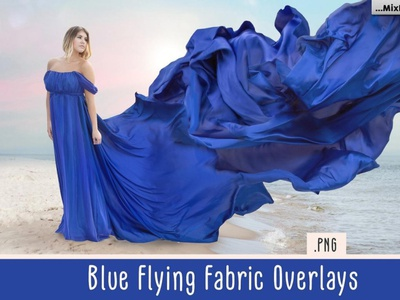 Blue Flying Fabric Overlays overlays digitalart
