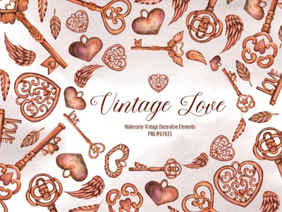 Watercolor Vintage Love Elements vintage watercolor elements digitalart
