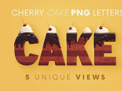 Cherry Cake - 3D Lettering digitalart 3d letters lettering typography