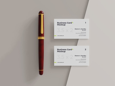 Business card mockup with pen top view businesscardmockup businesscard mockup digitalart