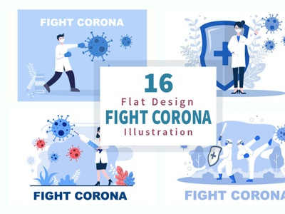 16 Fighting With Corona Virus Illustrations coronavirus covid19 art illustrations