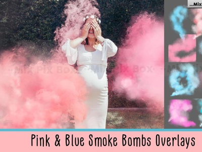 Pink and Blue Smoke Bombs Overlays digitalart overlayes effects