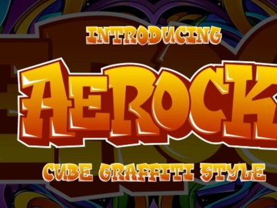 Aerock - Layered Graffiti Style typeface graffitifont graffiti font typography