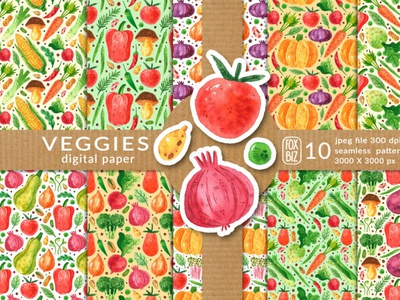 Vegetables digital paper patterns backgrounds vegetables digitalart