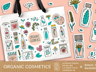 Organic cosmetics clipart vector elements digitalart
