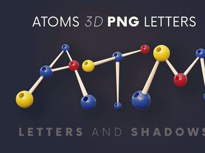 Atoms - 3D Lettering digitalart typography 3d lettering typeface