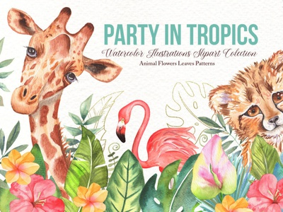 Watercolor Tropical Party tropical watercolor animals clipart illustrations