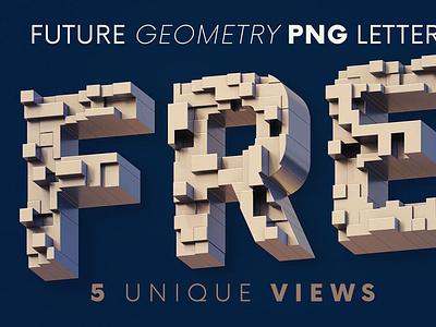 Future Geometry - 3D Lettering digitalart lettering 3d typography