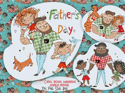 Father's Day Digital Clipart illustrations digitalart fathersday cliptart svg