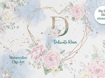 Watercolor flowers roses clipart flowers watercolor clipart illustrations digitalart