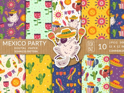 Mexico party prints, seamless patterns illustrations art mexico textures patterns