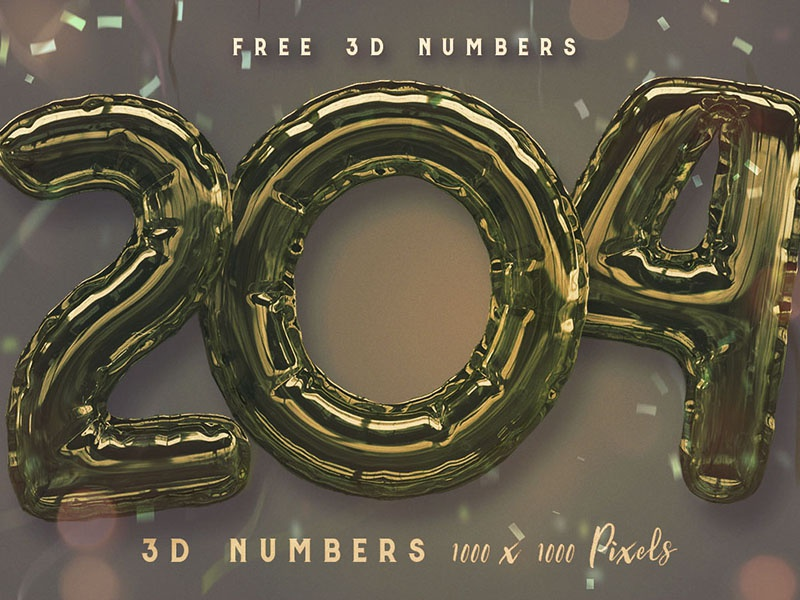 Free Foil Balloon 3D Numbers 3d numbers party baloon baloon lettering foil baloon graphics free typeface free typography free graphics free numbers freebie free