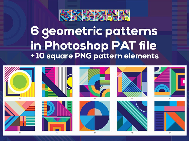 Free Square Geometric Patterns