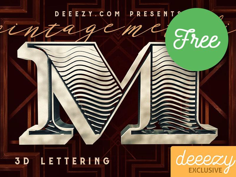 FREE Vintage Metalic 3D Lettering