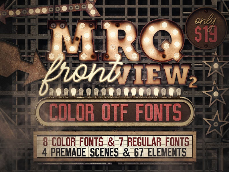 Marquee Front View - Color Fonts retro vintage steampunk artdeco marquee 3d typography 3d typeface typography font fonts color fonts