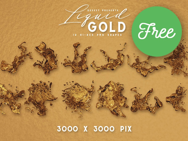 12 Free Liquid Gold Shapes by Deeezy on Dribbble