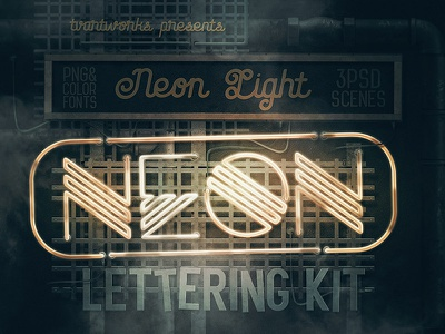 Neon Light Lettering Kit bundle deal dealjumbo color font photoshop steampunk grunge vintage retro scene creator 3d lettering neon typography neon font neon lettering neon effects neon light neon sign neon