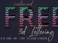 Free Colorful Neon 3D Lettering