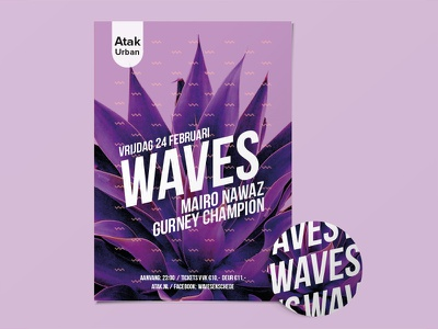Identity redesign Waves flyer ticket sticker poster pattern future party identity